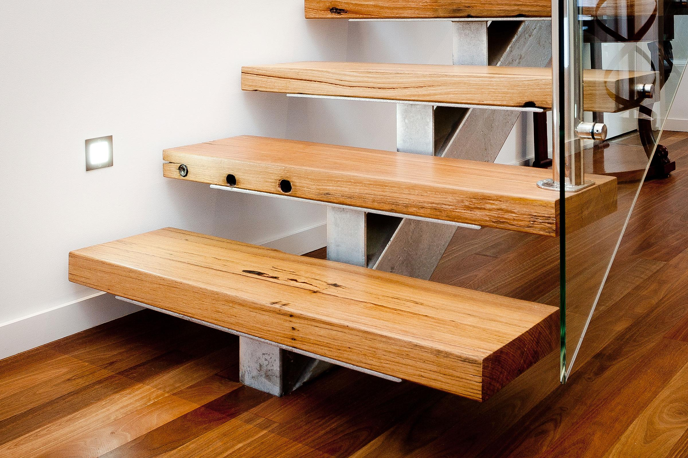Steel Stringer Recycled Treads And Glass Just Stairs